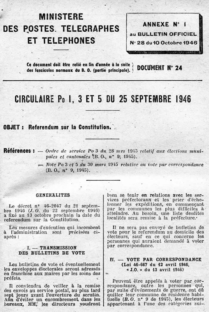 Réferndum du 13/10/46 conditions postales