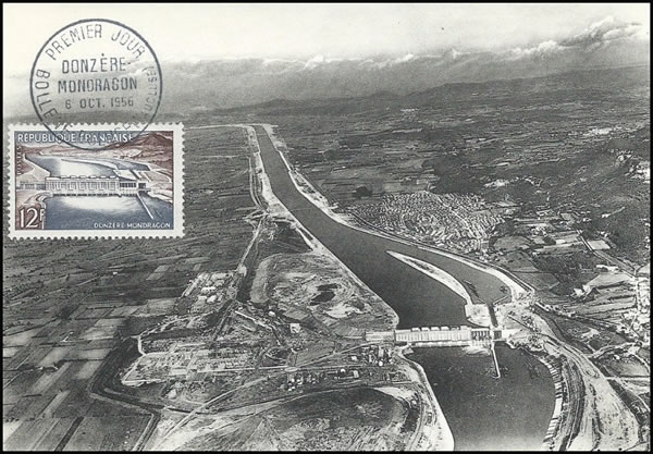Carte Maximum barrage de Donzère Mondragon