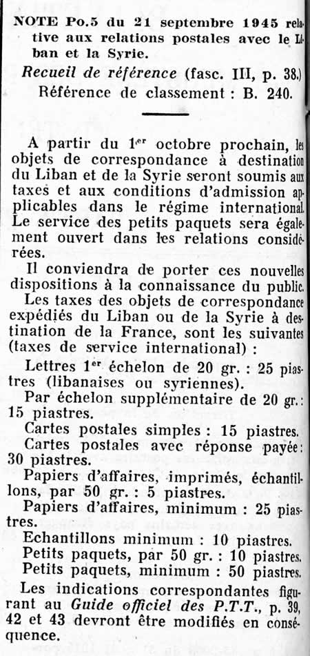 Tarif international applicable à la syrie et au Liban
