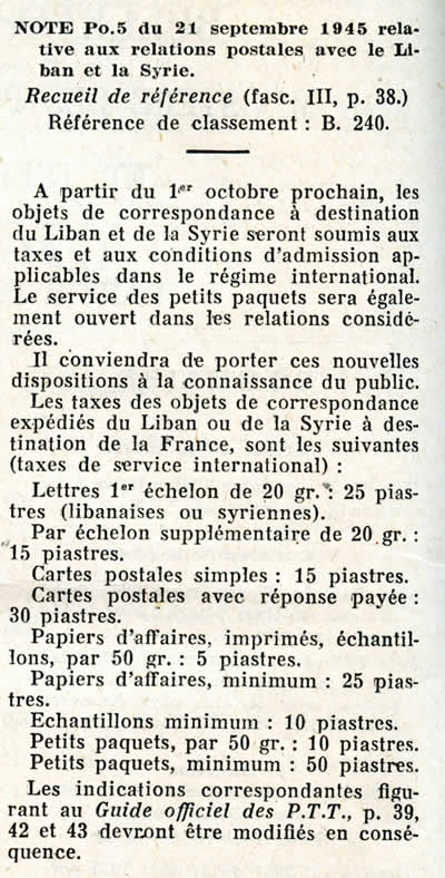Tarif international octobre 1945