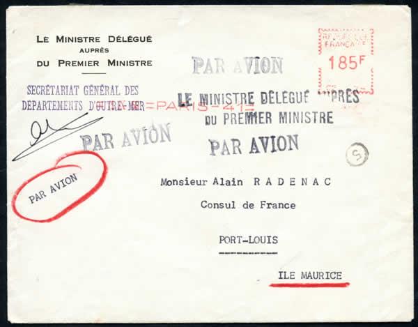 1958 1959 philat lie des dom tom for Ministre interieur 1960