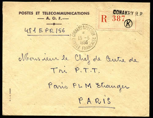 Cachet CONAKRY DIRECTION 1956