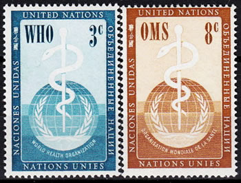 Timbres OMS des Nations Unies