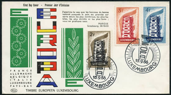FDC Europa 1956 Luxembourg