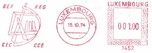 EMA CCE Postalia 1452 Luxembourg 4 sigles