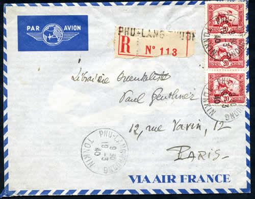 LR par avion Hanoi Paris mars 1940