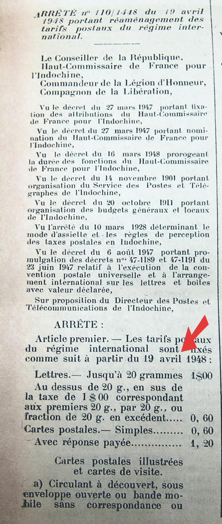tarif international avril 1948