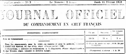 Journal Officiel du Commandant en Chef