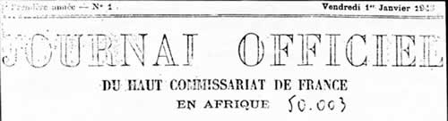 Journal Officiel du Haut-Commissariat