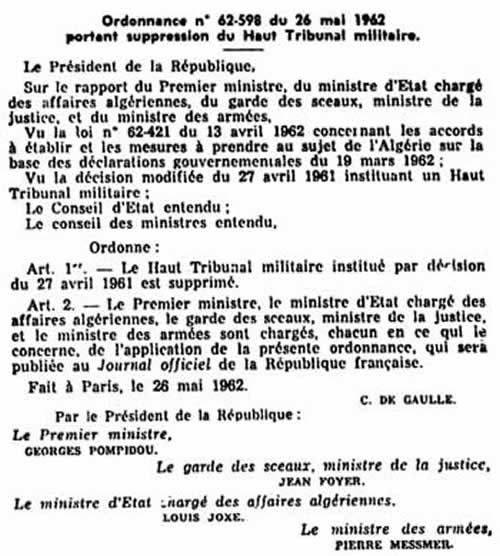 Suppression Tribunal Militaire
